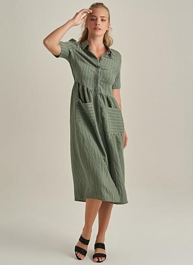 NGSTYLE Cep Detaylı Elbise Haki